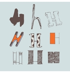 Set of colorful alphabet letters H vector