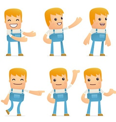 set of mechanic character in different poses vector image