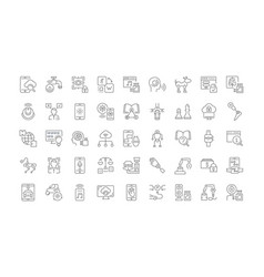 Set simple icons artificial intelligence vector