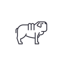 shar pei dog line icon sign vector image