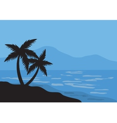 Silhouettes of two palm in the beach vector