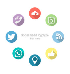 social networking set icons flat style vector image