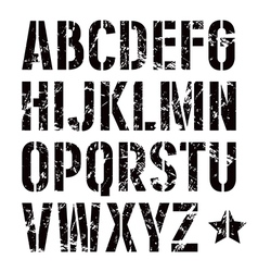 Stencil plate sans serif font in military style vector