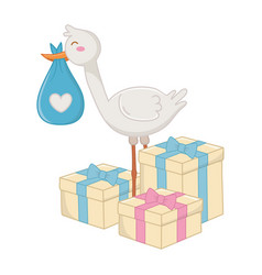 Stork with gift boxes vector