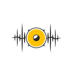 Stylised yellow speaker on dark waves vector