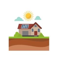 Sun energy house vector image