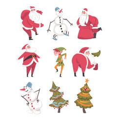 symbols xmas and new year holidays set cute vector image