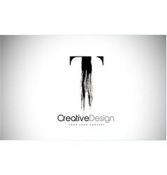 t brush stroke letter logo design black paint vector image