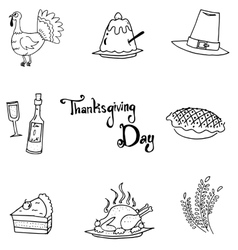 Thanksgiving flat doodle art vector