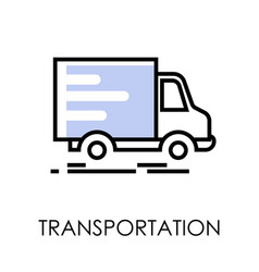 truck with post and parcels transportation vector image