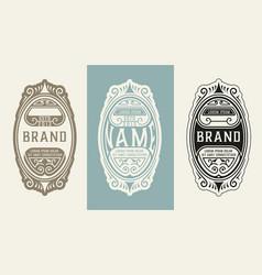 vintage logo with floral elements vector image