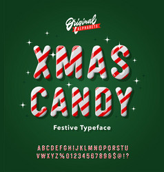 vintage striped christmas candy cane alphabet vector image