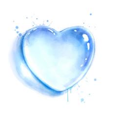 watercolor heart shape water drop vector image