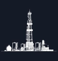 White silhouette drilling rig vector