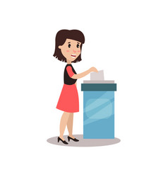 woman character putting a ballot into a voting box vector image