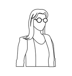 Woman female glasses jacket outline vector