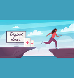 Woman jumping over cliff abyss running away from vector