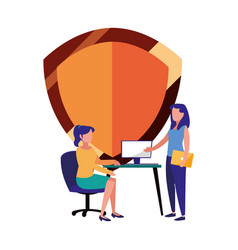 Women working office shield protection vector