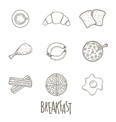 Breakfest hand drawn icon set over white vector image vector image
