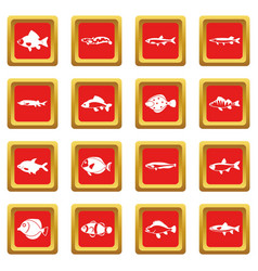 cute fish icons set red vector image