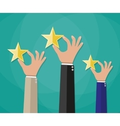 Hands of customers placing rating stars vector image