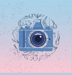 photocamera icon with magnolia flowers vector image vector image