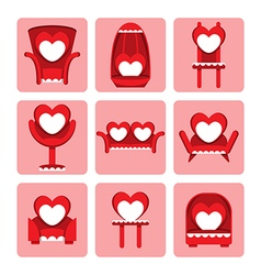 set of cute chair for valentine day vector image