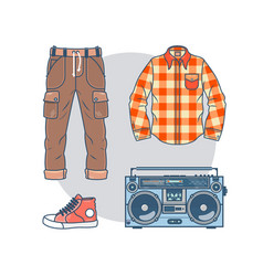 set of trendy men s wear and accessories pack of vector image vector image