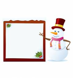 snowman with banner vector image