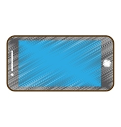 drawing mobile phone blue screen technology vector image