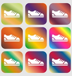 shoe icon sign Nine buttons with bright gradients vector image vector image