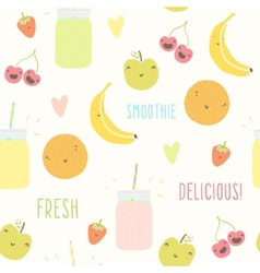 Smoothie pattern with funny fruits vector image