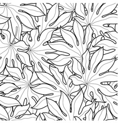 black and white palm leaves seamless pattern vector image