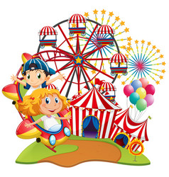 circus scene with kids on the ride vector image