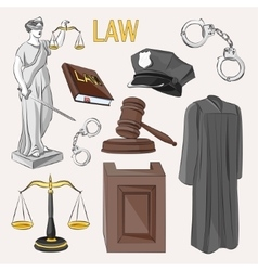 Law icons set vector image vector image