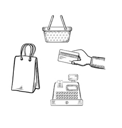 Shopping and market sketch icons set vector image vector image