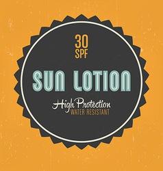 Sun Lotion Design vector image vector image