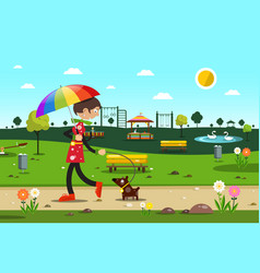 woman with dog in city park - flat design vector image