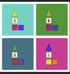 Flat icon design collection children constructor vector