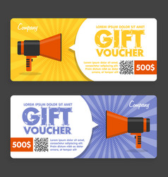 gift voucher flat design announcement vector image