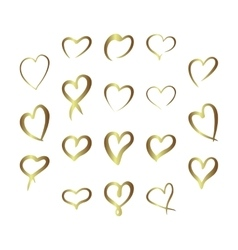 Gold gradient foil hearts set valentine day love vector