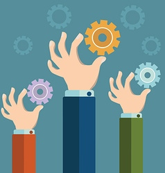 Hands holding gears Business synergy concept vector image vector image