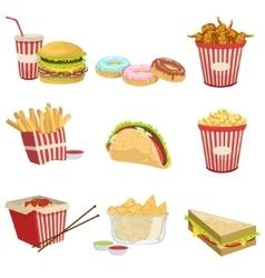 Street Food Menu Items Realistic Detailed vector image