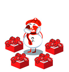3d rendering of snowman with present isolated over vector image