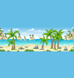 A tropical coastal landscape with palms panorama vector