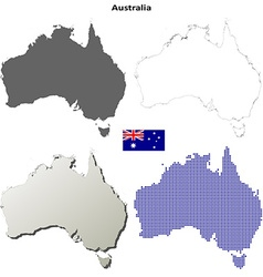 Australia outline map set vector