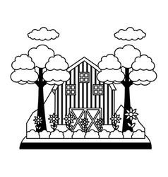barn garden flowers tree vector image