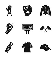 baseball equipment icons set simple style vector image vector image