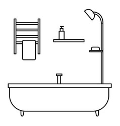 bath tube icon outline style vector image