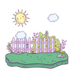 beautiful garden bush with flowers scene vector image